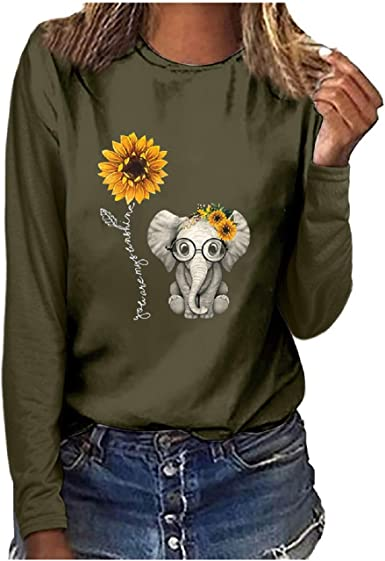 FAPIZI Women Butterfly Printing Sweatshirt Long Sleeve T-Shirt Casual Round Neck Pullover Tops Blouse