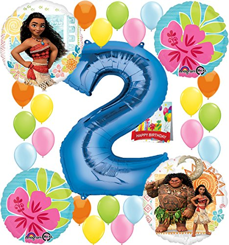 Moana Party Supplies Birthday Decorations Number Balloon Bundle for (2nd Birthday) by Combined Brands