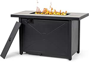 Nuu Garden Outdoor Propane Fire Pit Table with Fire Glass & Cover -50,000 BTU, Rectangular, Steel