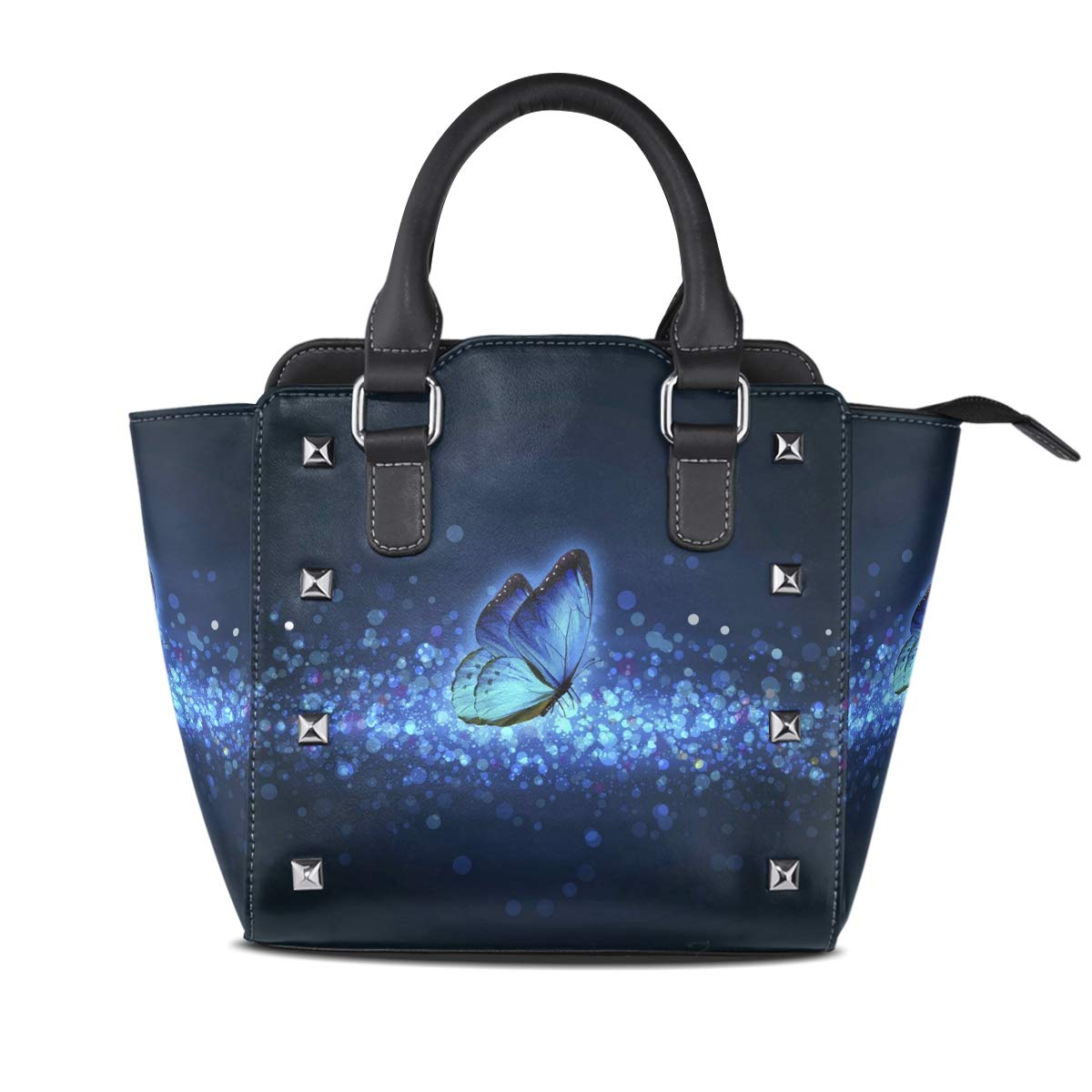 Design4 Handbag colorful Butterfly Genuine Leather Tote Rivet Bag Shoulder Strap Top Handle Women
