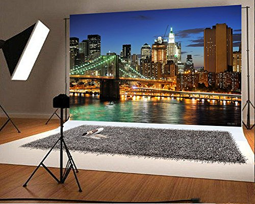 Laeacco 7x5ft Vinyl Photography Backdrop New York Bridge Night City View 2.2(w) x1.5(h) m Photo Background Studio Props (Art Coastal View Wall)