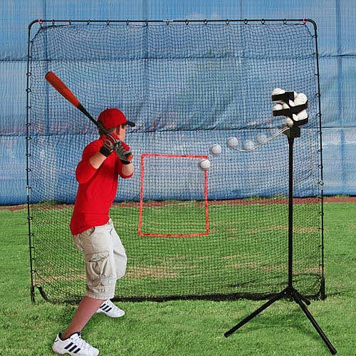 Heater Sports Big League Drop Toss Pitching Machine and Big Play Practice Net (Best Pitching Machine For Little League)