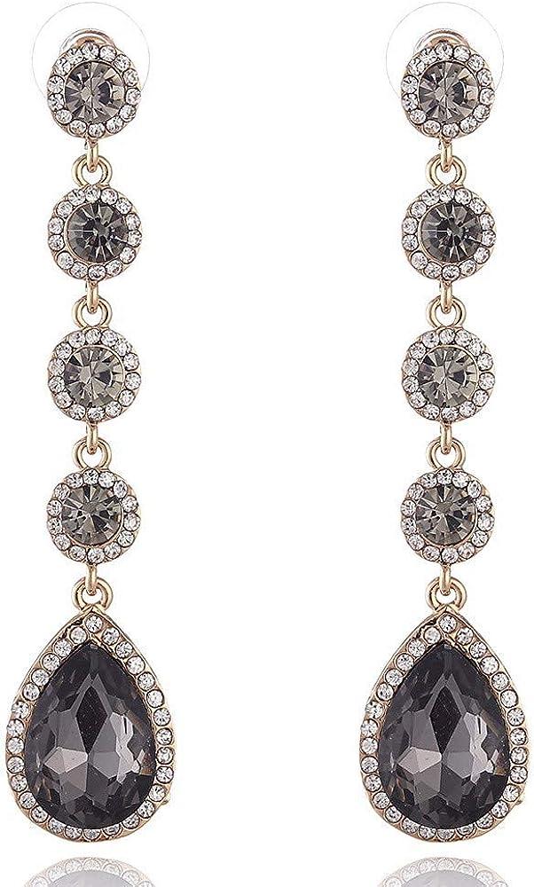 WANGLETA Pendientes Stud Earring Europa y los Estados Unidos Multi-Color de cristal en forma de gota Piedras preciosas de las mujeres de piedras preciosas Joyas, C