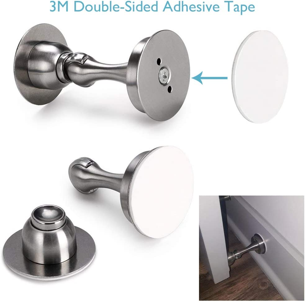 Bewelter 2 Pack Door Stoppers with Strong Magnet Stainless Steel Door Stop Holder No Drilling Magnetic Door Catch for Home Office Garage
