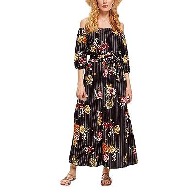 cedc85fe430 Summer Dresses DIKEWANG Chic Women s Floral Print Dress Cold Shoulder Sexy  Slit Dress Maxi Dresses for Women Summer  Amazon.co.uk  Clothing