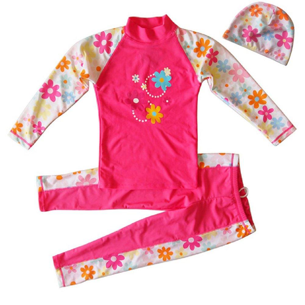 Girls' Long Sleeve 2-Pc Sun Protective Rashgurad with Swim Cap Set UPF 50+ Banner Bonnie