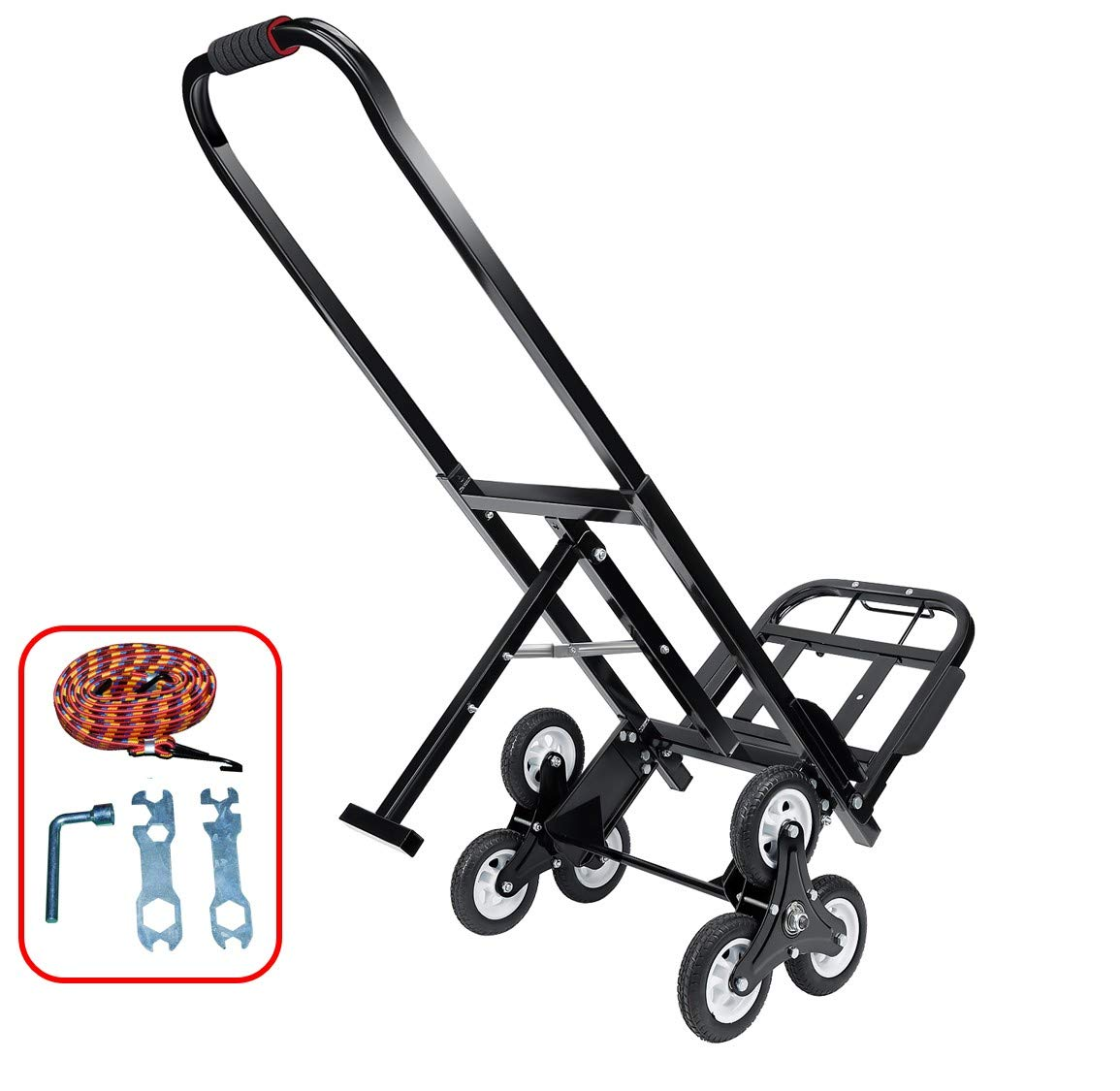 Mecete Stair Climbing Cart Portable Climbing Cart 330 lb Largest Capacity All Terrain Stair Climbing Hand Truck Heavy Duty with 6 Wheels (Black) Baking Varnish Surface Shining by Mecete