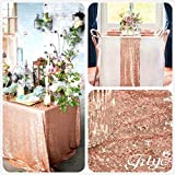 TRLYC 60 x 120-Inch Rectangular Sequin Tablecloth Rose Gold
