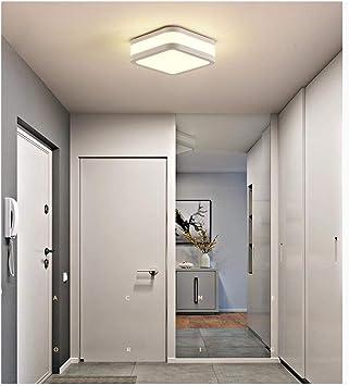 Lámpara De Techo Minimalista Moderna Lámpara De Techo Cuadrada LED Lámpara De Techo De Protección Ocular Con Luz Cálida Para Pasillo De La Sala De Estar, Φ23.5cm 12W (Color : Blanco) :