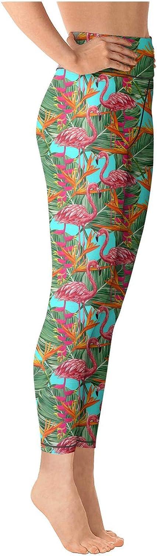 Medssii Womens Yoga Pants Pink Flamingo High Waist Yoga Leggings with Pockets
