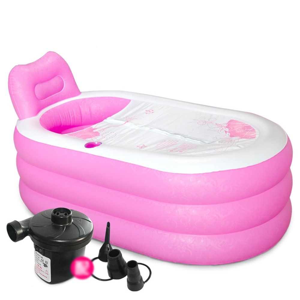 WYP Portable Adult Spa PVC Folding Bathtub Inflatable Bathtub/Pool Child Inflatable Pool Blue (Pink) (Color : Pink, Size : L) by WYP (Image #1)