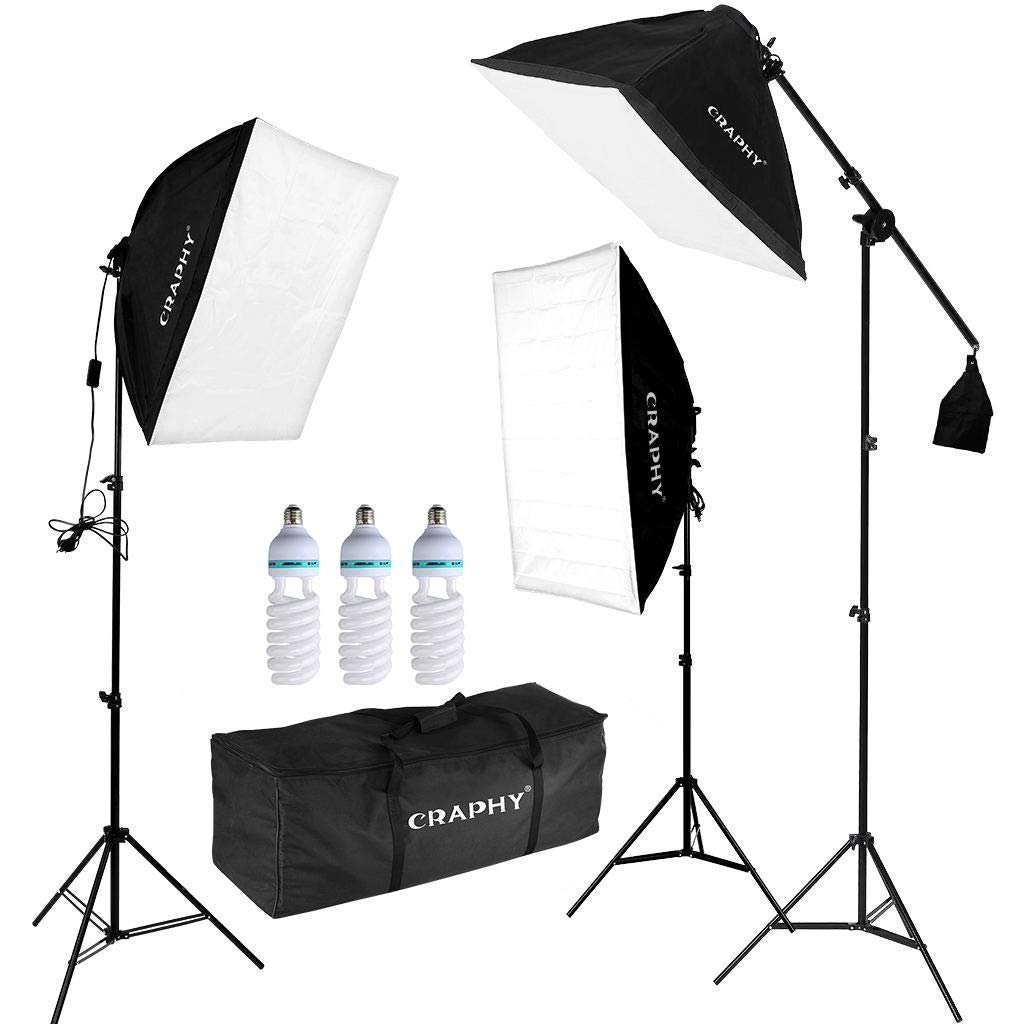 Craphy Professional Photo Studio Soft Box Lights Continuous Lighting Kit 3x135w 5000k Bulbs 20x25 Softbox 80 Light Stand Carrying Bag