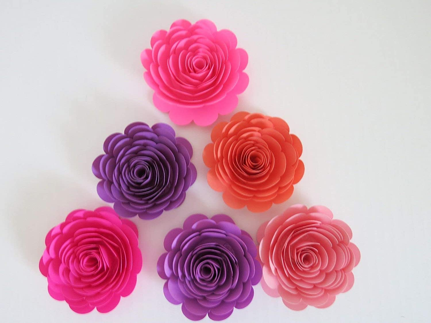 Pink And Purple Paper Flowers Set Of 6 3 Roses Princess Theme Room Decor Birthday Party Decorations Nursery Wall Art Girl Bedroom Accent