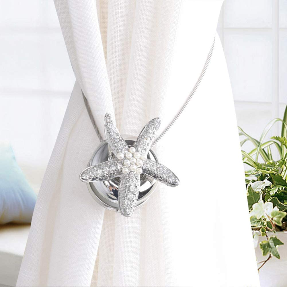 topxingch Embrasse de Rideau magn/étique en Forme d/étoile de mer pour d/écoration de Chambre /à Coucher Silver