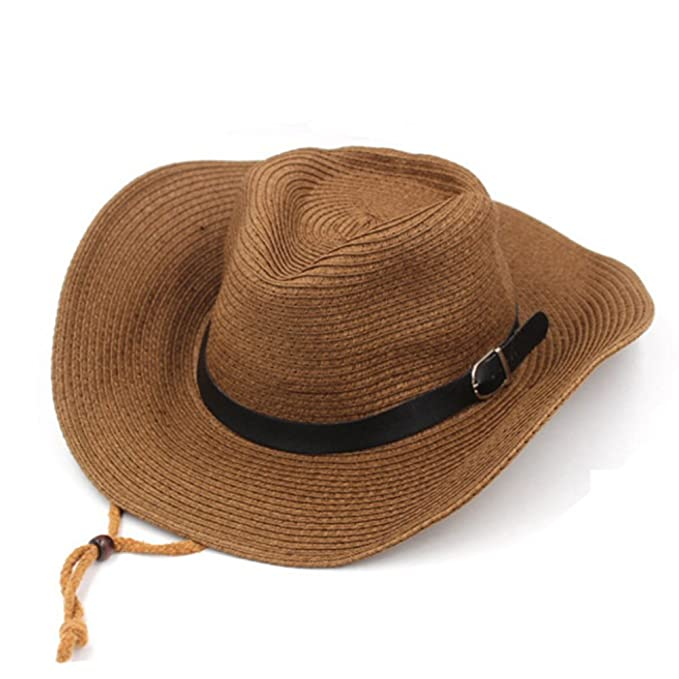 Hat Men and Women Summer Hats SPF Sun Hats Large Straw hat Outdoor Cowboy  hat Men s Beach hat-C One Size at Amazon Men s Clothing store  c3e4c74653a