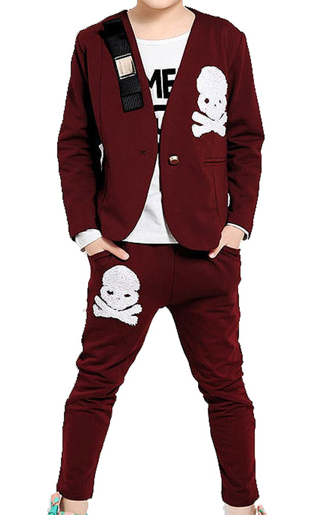 Sarah Kids Girls Wine Red Three-piece Small Business Casual Sports Suit#DYC283
