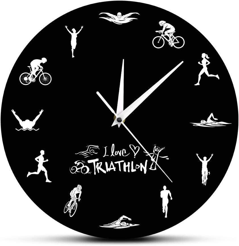 xinxin Reloj de Pared Triatlón de 12 Pulgadas Material Preferido Moderno Mano de Obra Fina Fácil de Usar El Barrido silencioso no Significa Nada de Ese Molesto tictac