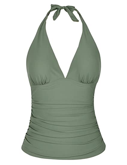 7b4ab9f4b2 Mycoco Women's Tummy Hide Solid Color Front Tie Back Halter Tankini Top  Army Green 16