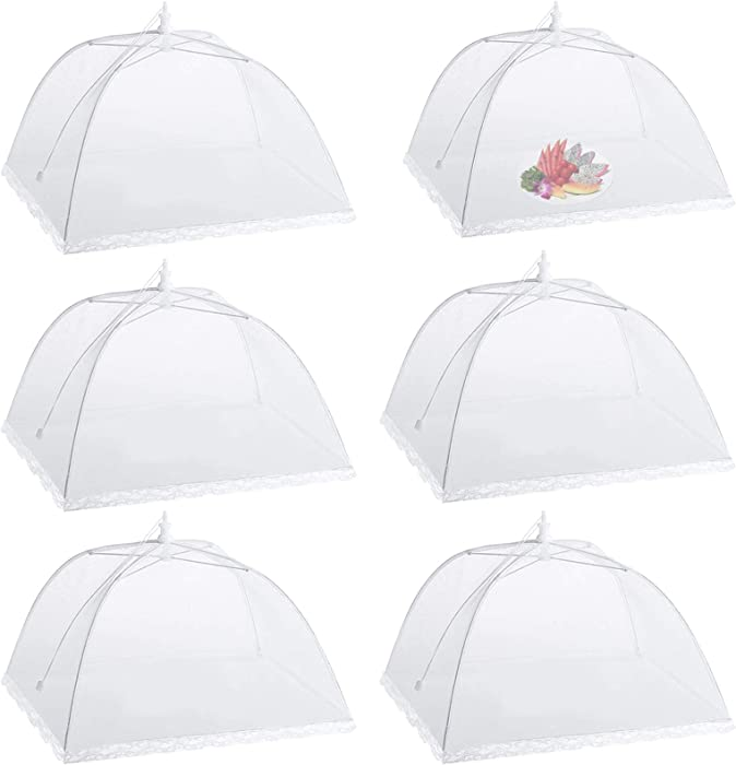 "Camkey 6 Pack Dome Screen Mesh Food and Plant Covers,Reusable 17"" Large Pop-Up Mesh Food Cover Tent, Collapsible Screens Canopy Food Cover Protector from Flies and Bugs for Outdoor and Home Use"