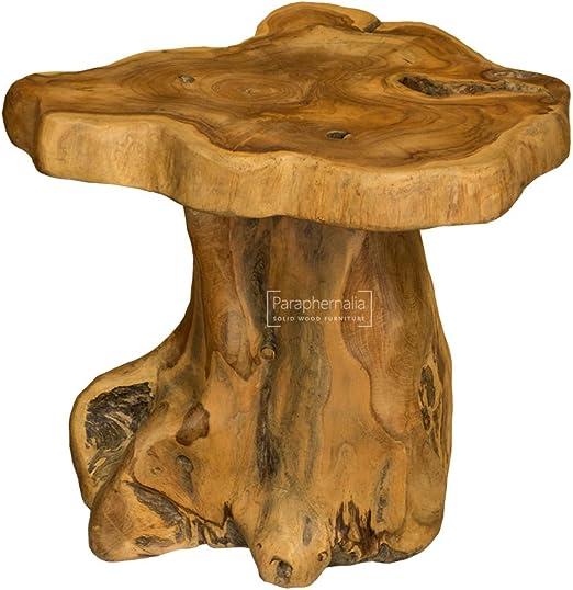 Mesa de madera maciza de teca raíz tronco – pequeño (parte de ...