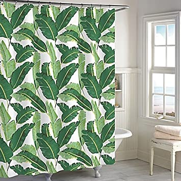 Amazon.com: Destinations Miami Leaf Shower Curtain in Green: Home ...