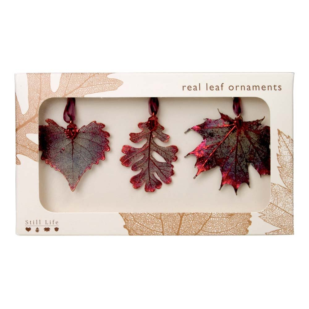 Real Leaf Ornaments, Set of 3 Copper Iridescent Ornaments - Cottonwood, Lacy Oak, and Sugar Maple