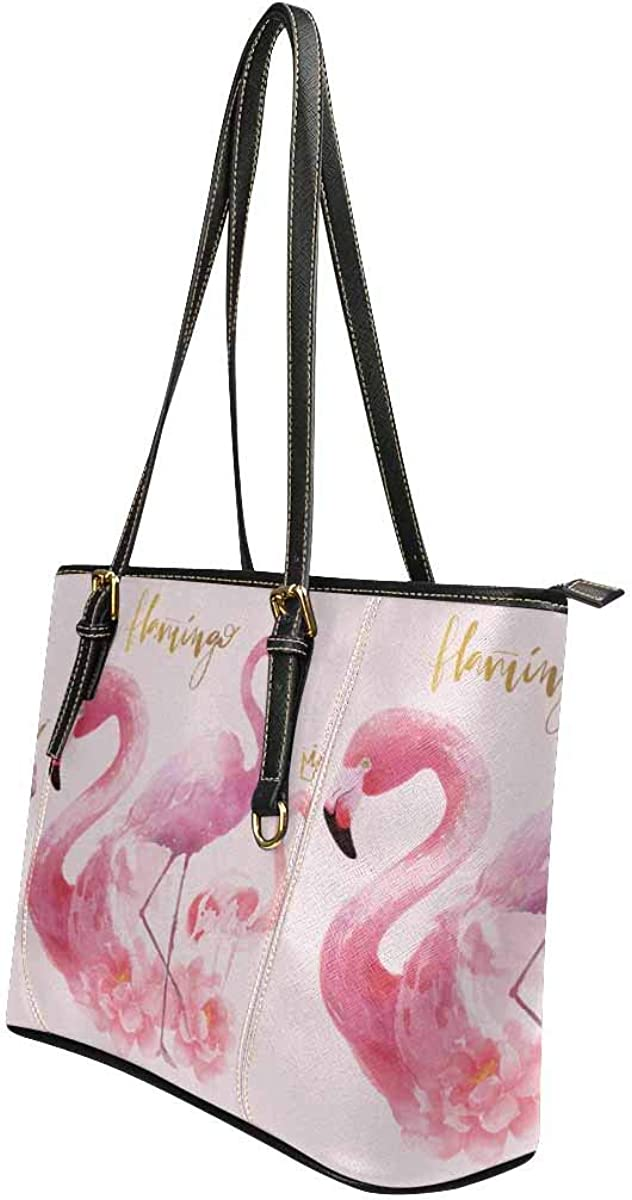 Womens Leather Handbags Shoulder Tote Flamingo Flowers Watercolor Top Handles Bag Purse for School Travel