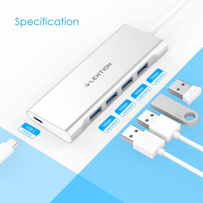 USB 2.0-Anschluss Kompatibel mit Mac Air 2018 USB 3.0 Multiport-Lade- und Verbindungsadapter ChromeBook More Thunderbolt 3 MacBook Pro 13//15 2019 LENTION 4-in-1-USB-C-Hub mit Typ C Gold