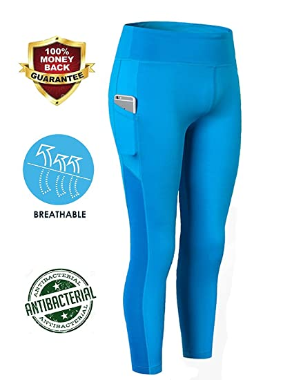 08fa0af12e358f High Waist Out Pocket Tummy Control Workout Cropped Pants with Pockets  Women's Power Fit Compression (