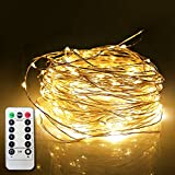 ETHINK 100 LED 32.8ft Auto Timer 8 Modes Remote Control Battery Operated Waterproof Dimmable Fairy String Copper Wire Lights for Christmas, Bedroom, Party, Patio, Wedding, Warm White (100LED)