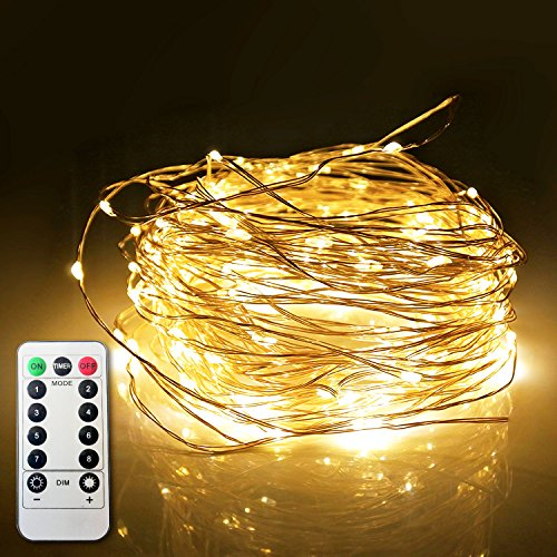 ETHINK 100 LED 32.8ft Auto Timer 8 Modes Remote Control Battery Operated Waterproof Dimmable Fairy String Copper Wire Lights for Christmas, Bedroom, Party, Patio, Wedding, Warm White (100LED) by ETHINK