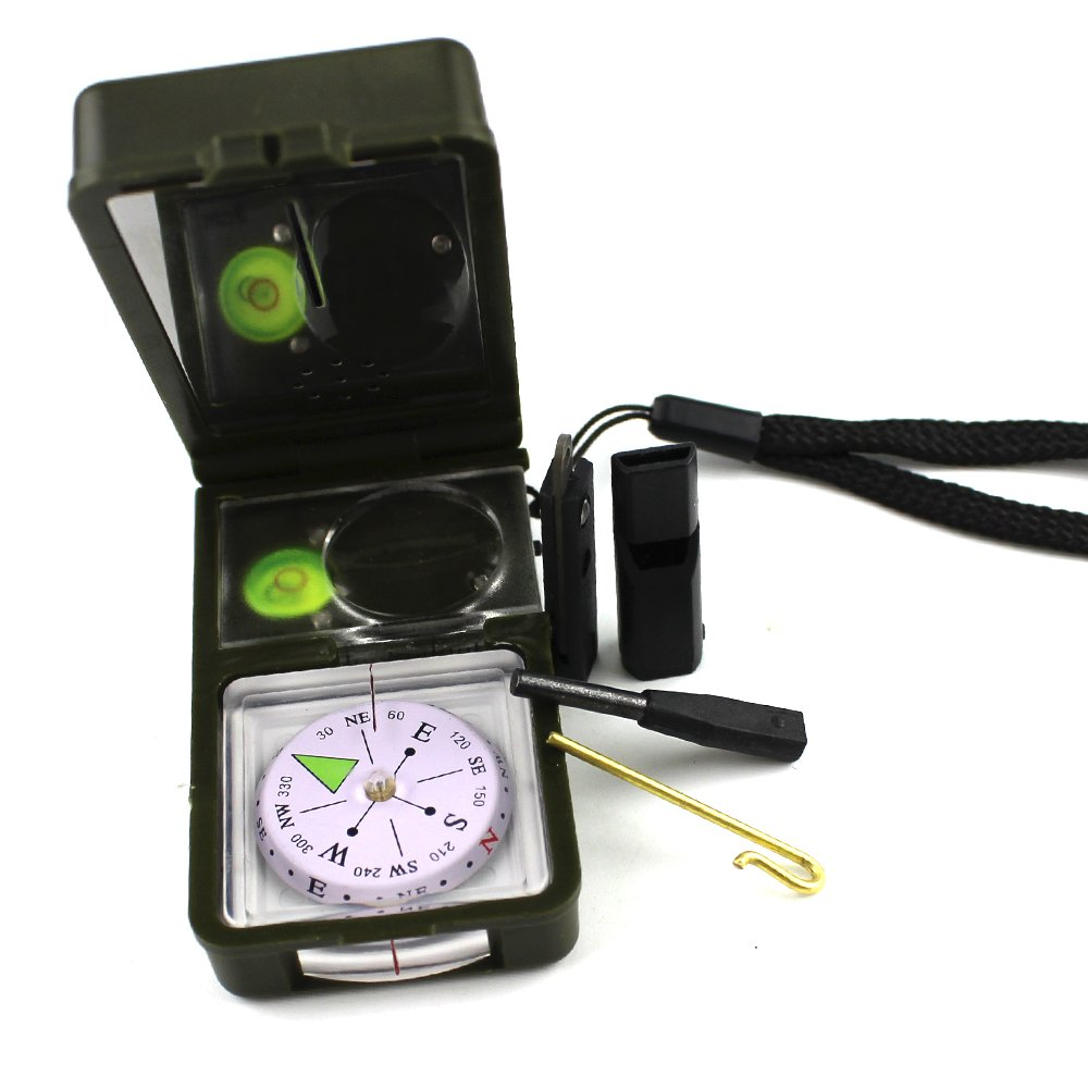 Ezyoutdoor Multifunction 10 in 1 Military Camping Hiking Survival Tool Compass Kit Navigator for Outdoor Activities Hiking Camping Travel Bivouac