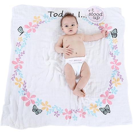 LifeTree Bebé Recién Nacido Hito Manta con Tarjetas Baby para Fotografía - 100cm x100cm Muselina Manta