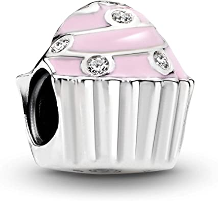 Pandora Jewelry Pink Cupcake Cubic Zirconia Charm in Sterling Silver