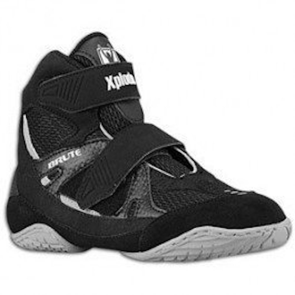 Brute Xplode 2 Youth Wrestling Shoes (Velcro Closure), Black/Silver, Size: 1