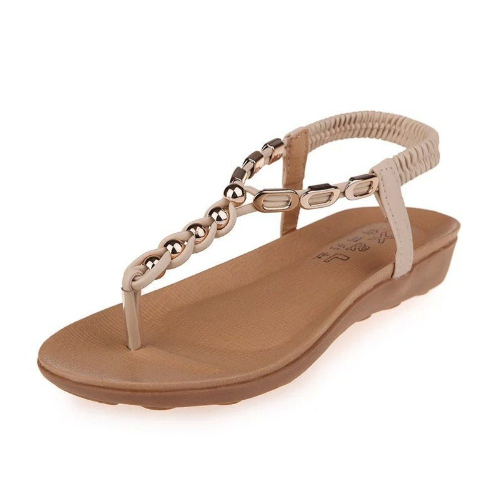 Paris Hill Women's Summer Beach Sandals Flat Ankle Strap Post Thongs Shoes:  Amazon.co.uk: Shoes & Bags
