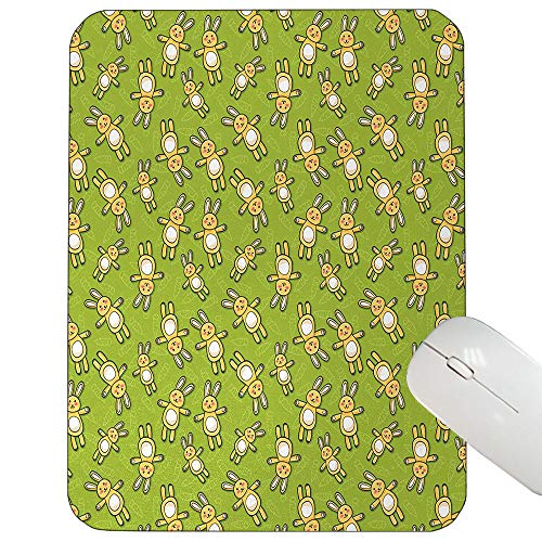 (Anime Customized Mouse pad Kids Toy Rabbits Pattern on a Green Background with Doodle Carrots Mouse pad Apple Green Yellow and White 9