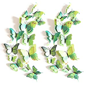 JYPHM 24PCS 3D Butterfly Wall Decal Double Wings Removable Refrigerator Magnets Stickers Decor for Kids Room Decoration Home and Bedroom Art Mural Green