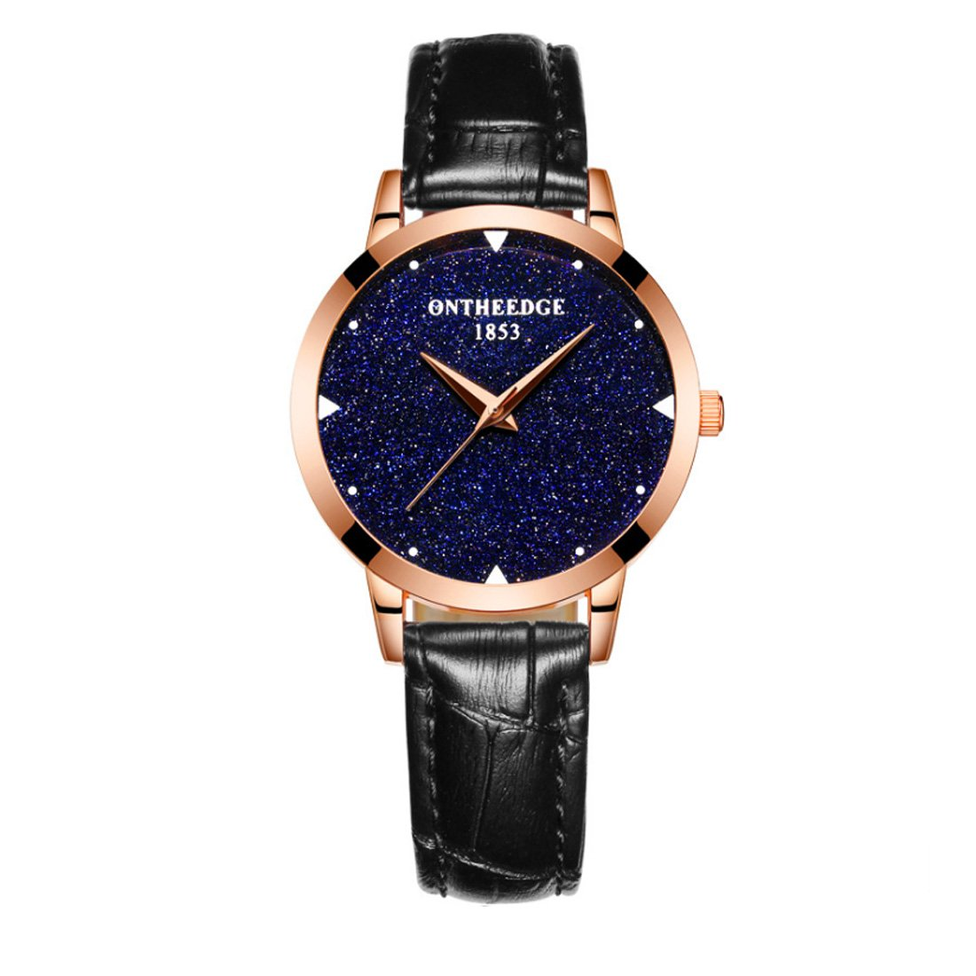 Watch,Women Ladies Girl Watches Luxury Fashion Starry Sky Series Minimalist Leather Strap Dress Waterproof Analogue Quartz Watch,Breathable Band,Mineral Reinforced Glass Mirror (Black)