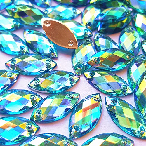 Big Sale 100pcs 7x15mm Horse Eye Shape Crystal AB Color Clear Sew On Acrylic Rhinestones Flatback Fancy Stones Sewing For Clothing Wedding Dress Decorations (blue) Clear Ab Color