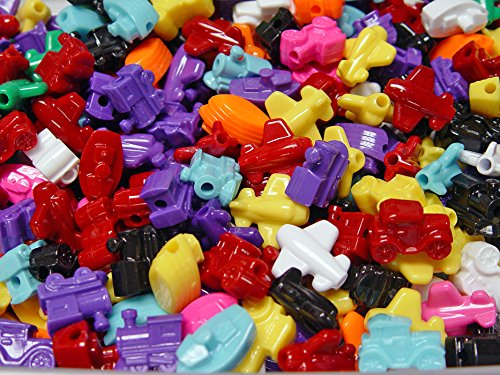 Jolly Store Crafts Transportation Beads, Car, Train, Boat, Plane, Multi-Colors Made in USA ()