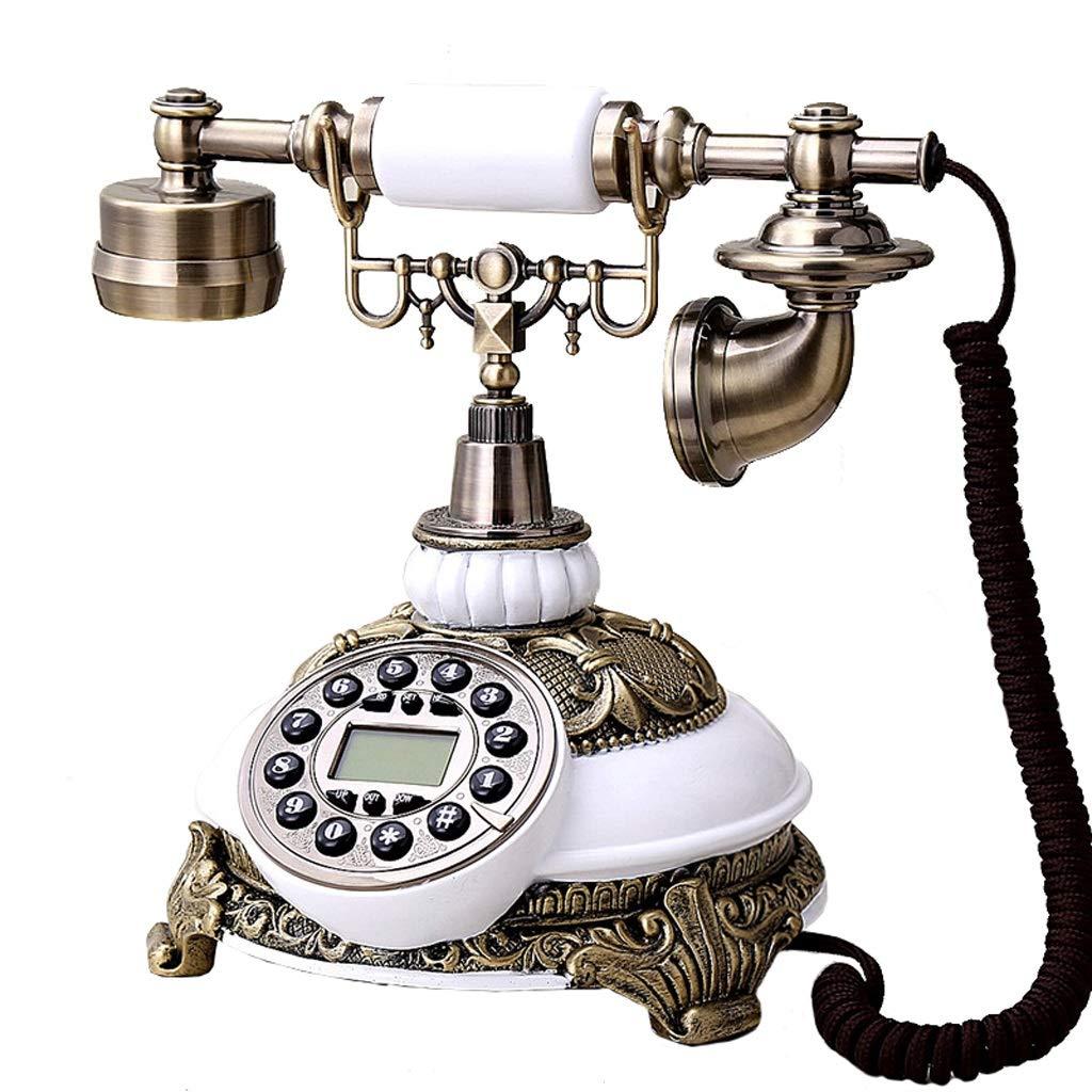 レトロな電話/ロータリーダイヤル電話/レトロなスタイルの電話/昔ながらの電話/ロータリーダイヤラ付きの固定電話、有線電話、ホームおよびオフィスの装飾、さまざまな色やスタイルで利用可能 (色 : Wood-like, 三 : B) B07J4HX3YT 白 A