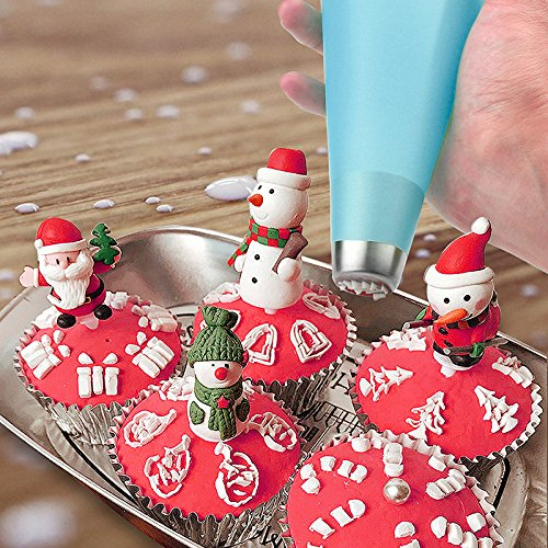 Silicone Pastry Bags, Weetiee 3 Sizes Reusable Icing Piping Bags Baking Cookie Cake Decorating Bags (12''+14''+16'')- 6 Pack - Bonus 6 Icing Couplers Fit to Wilton Standard Size Tips by Weetiee (Image #7)