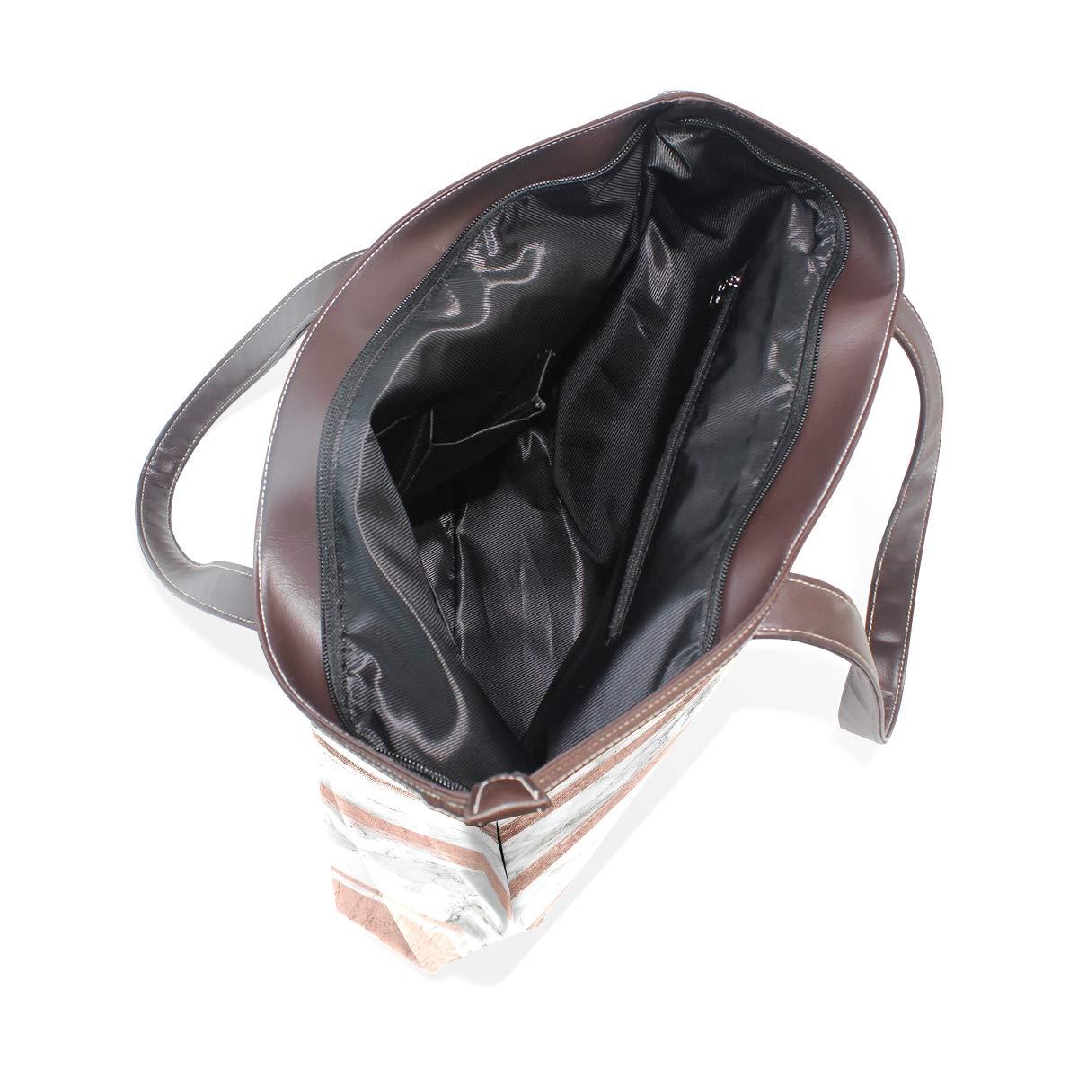 Rose Gold Stripe MarbleWomens Vintage Leather Tote Urban Style Satchel Tote