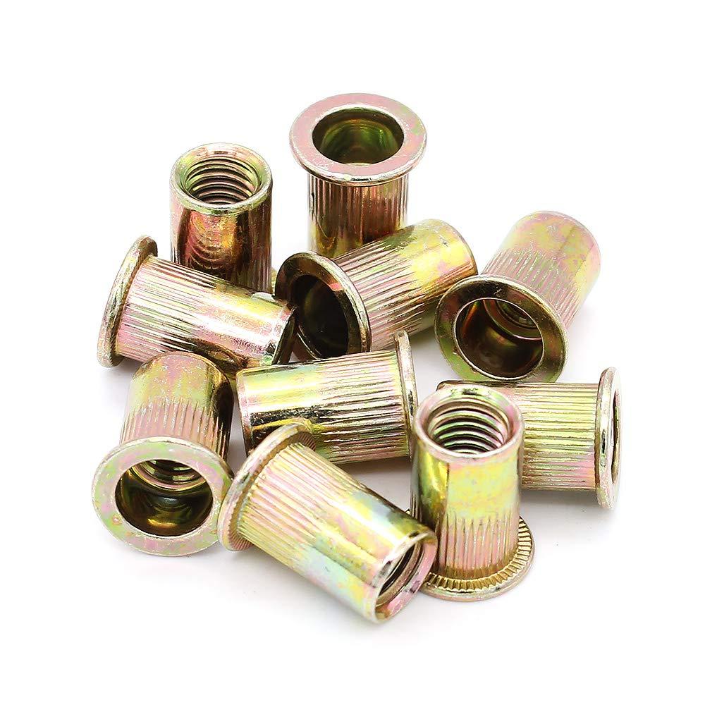 dorado Yuhtech Tuerca de remache de acero al carbono chapada en zinc juego surtido de tuercas de remache roscadas