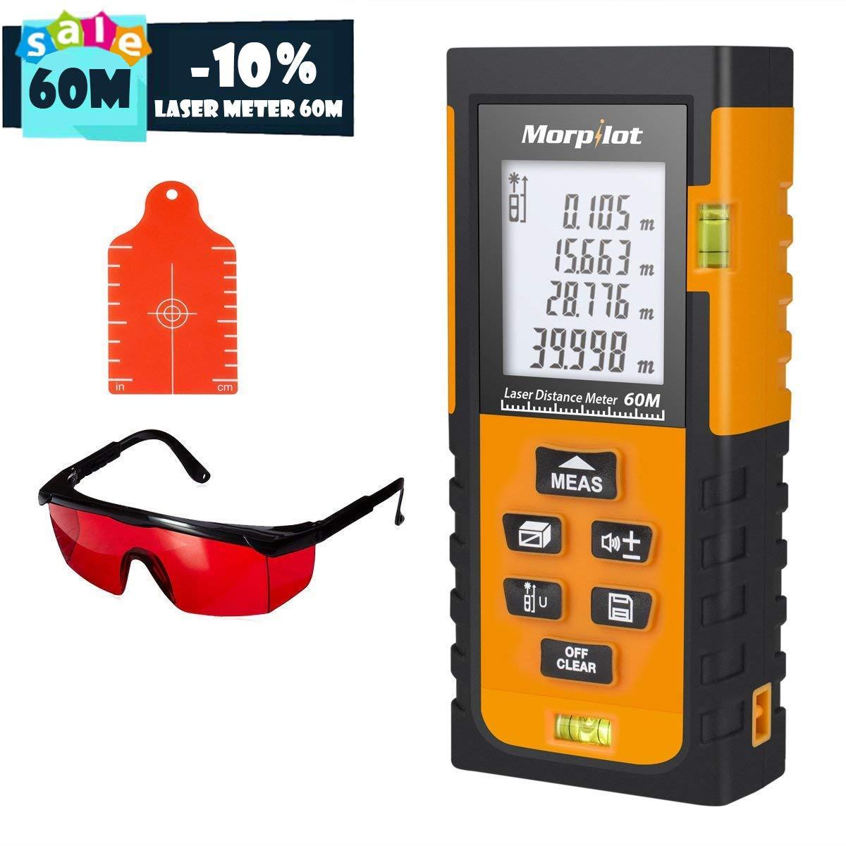 Laser Measuring Tape,Morpilot 80M Laser Measure with Target Plate & Enhancing Glasses,Laser Measure Device with Pythagorean Mode, Measure Distance, Area, Volume Calculation - Black & Orange HM80