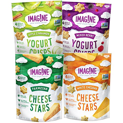 Imag!ne Cheese Stars and Yogurt Crisps Sampler Variety Pack, 4 Count (Best Tasting Healthy Yogurt)