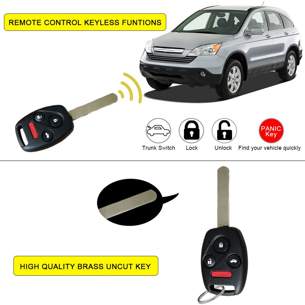 YITAMOTOR Key Fob Replacement for OUCG8D-380H-A Uncut Car Ignition Keyless Entry Remote Compatible for Honda Accord 2003-2007 Pack of 2