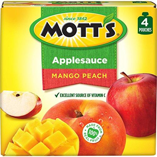 Mott's Mango Peach Applesauce, 3.2 oz pouches, 4 count (P...