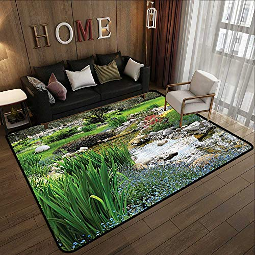 - Small Rugs,Country Home Decor Collection,Garden with Pond in Asian Style Flowing Stream Wild Flowers Bushes Stones Landscape,Green 78.7